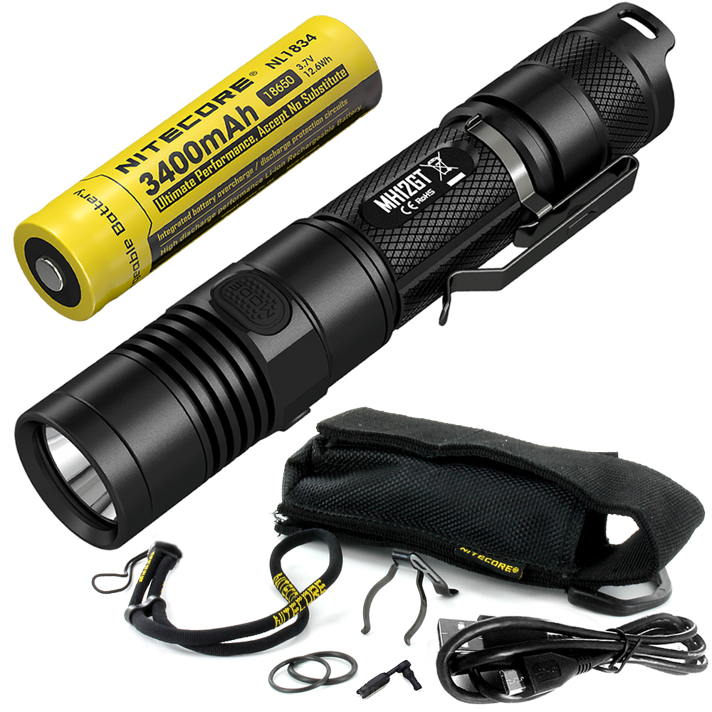 topsale NITECORE MH12GT 1000 LM LED 18650 3400mah Battery USB Rechargeable Flashlight Search Rescue Portable Torch Free Shipping