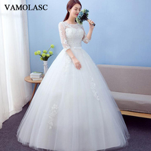 VAMOLASC Illusion O Neck Bow Sash Ball Gown Wedding Dresses Lace Appliques Half Sleeve Backless Bridal Gowns
