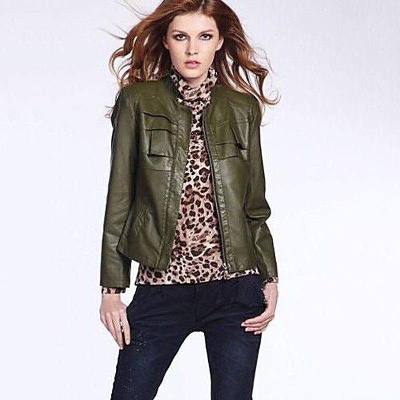 PU Faux Leather Coat Winter Motorcycle Zipper Korean Jacket Women Cool Short Outerwear Solid Jackets Plus Size Stand Slim 40%W