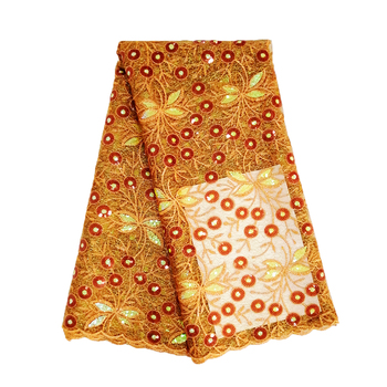 New Arrival 5 Yards/lot Orange Nigerian Lace on Sale French Lace Fabric Embroidered Sequins Fabrics 2019 Tulle Lace Fabric