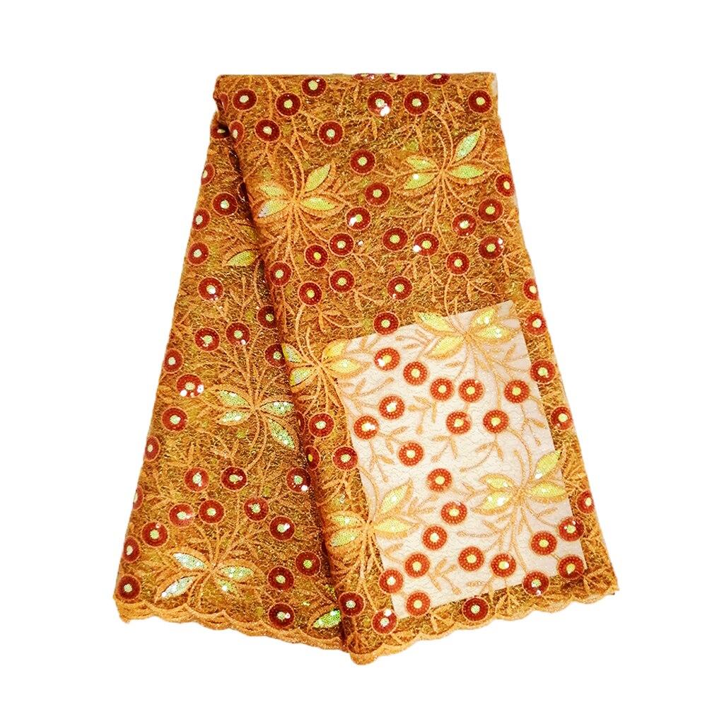 Última tela de encaje nigeriano 2019 de alta calidad 5 yardas tela de encaje verde esmeralda tela de encaje de lentejuelas de red mezclada para boda vestido-in encaje from Hogar y Mascotas    3