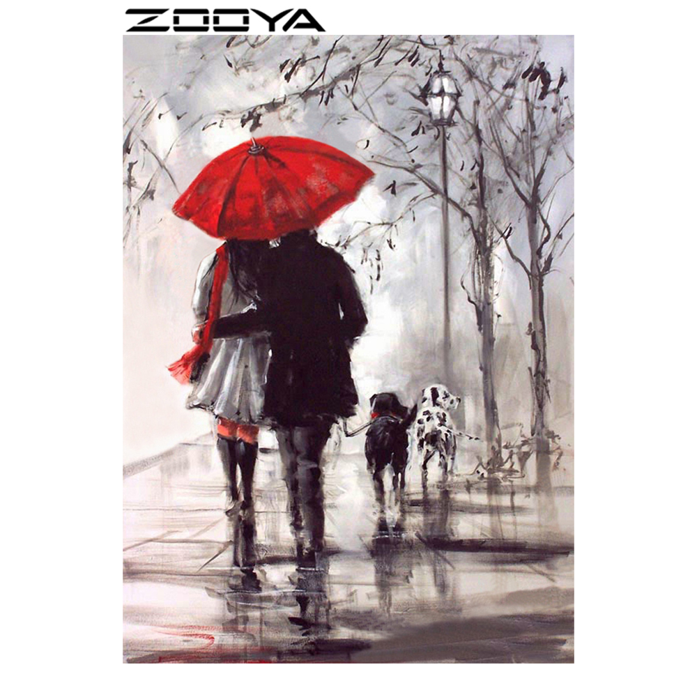 ZOOYA Diamond Painting Scenic Walking Couple Diamond Embroidery Handwerken DIY Patroon Rhinestones Kit Volledige Diamond Mozaïek RF770