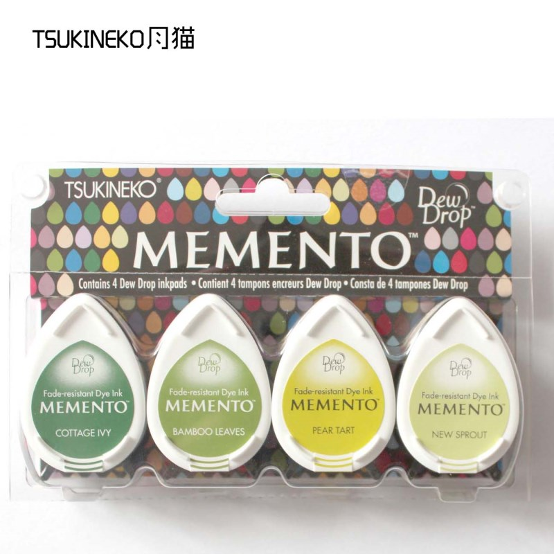 Image 2 - Tsukineko MEMENTO MD 4pcs water drop series of rubber stamp pad for paper craft free shipping-in Stamps from Home & Garden