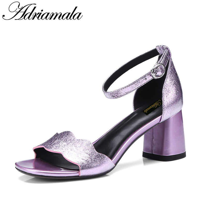 2018 Leather Women Thick Heels Sandals Open Toe Buckle Strap Fashion Sexy High Heels Party Dress Sandals Shoes Women Adriamala 2018 fashion women pumps sexy open toe heels sandals woman sandals thick with women shoes high heels s144