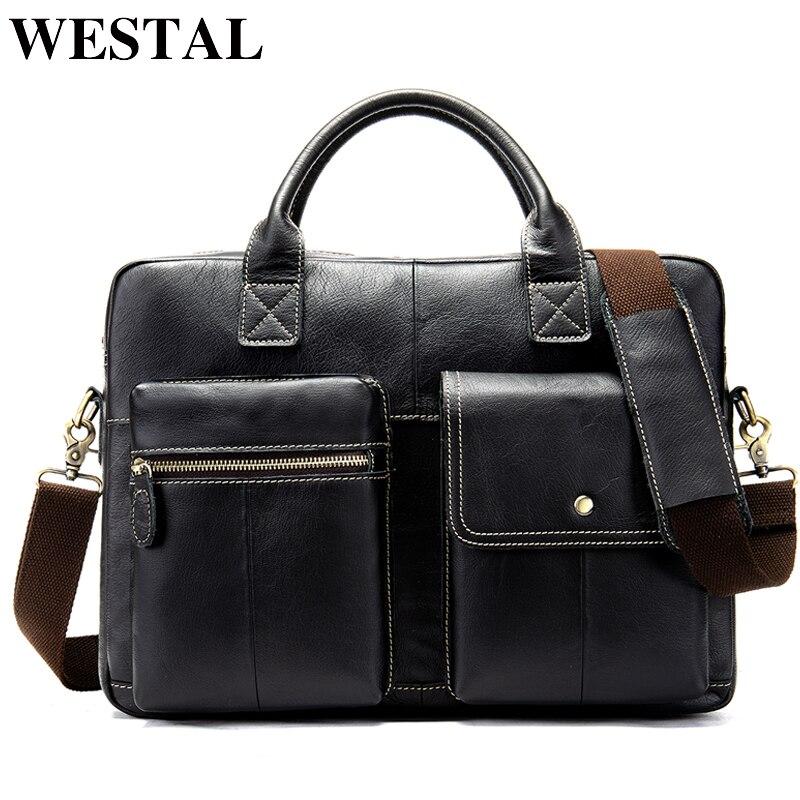 WESTAL 100% Genuine Leather Bag For Men's Briefcase Computer Shoulder Business Bag For Laptop Case Me's Document Handbags 7212