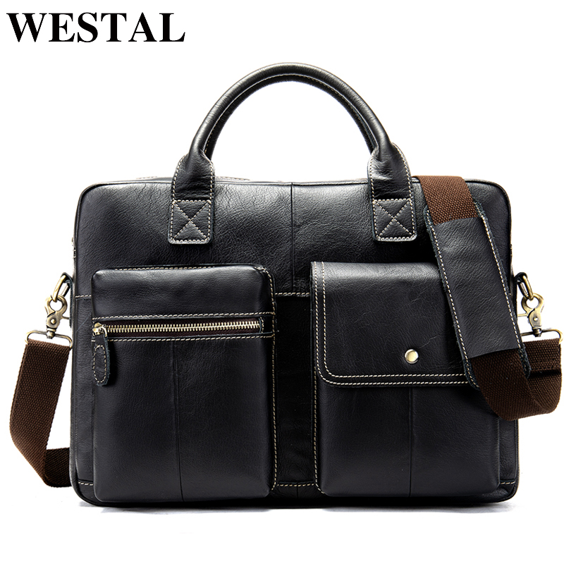 WESTAL Men's Briefcase Bag Men's Genuine Leather Laptop Bag Men Office Bag For Men's Porte Document Business Handbag Tote 7212
