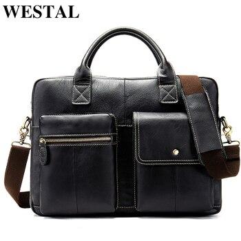 WESTAL men's briefcase bag men's genuine leather laptop bag men office bag for men's porte document business handbag tote 7212