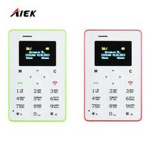 Hottest Mini Carte Téléphone AIEK M5 Écran Couleur Anglais/Russe/Arabe Clavier téléphone portable 4.5mm Ultra Mince poche Mobile Téléphone