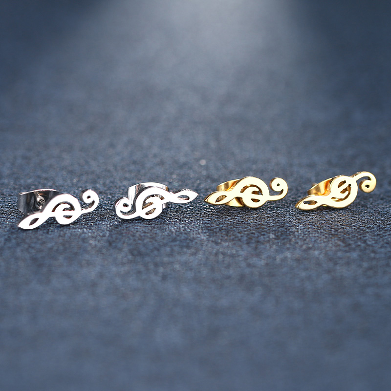 Cacana Stainless Steel Stud Earring Music Treble Clef IMG_5500