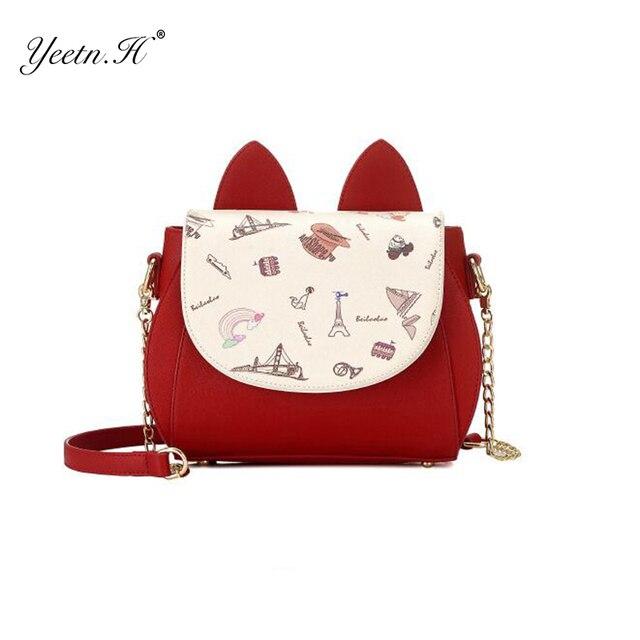 Yeetn. h Новинка модная обувь из искусственной кожи Винтаж сумка для Для женщин Сплошной плеча Crossbody женщина Сумки Курьерские сумки M7014