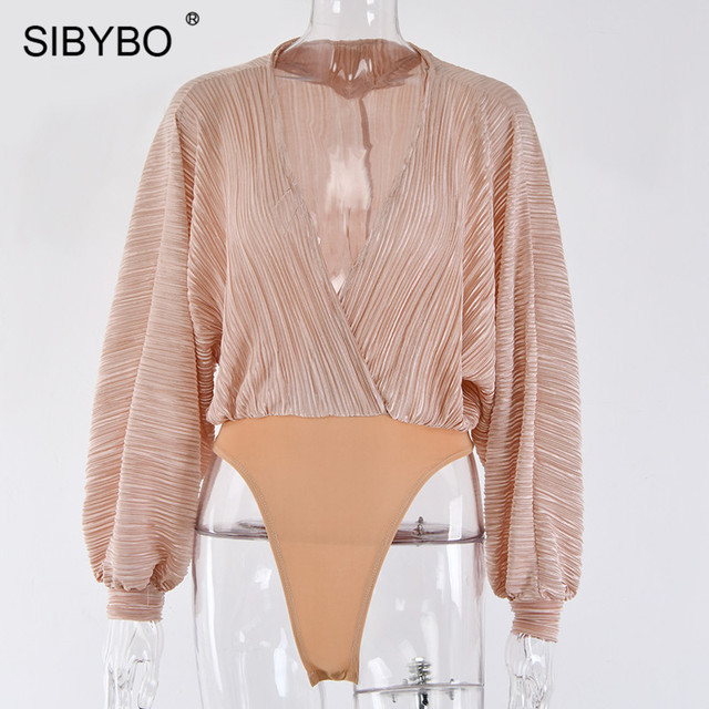 Sibybo Deep V-Neck Patchwork Sexy Bodysuit Women Fashion Long Sleeve Loose Women Rompers Autumn Casual Bodysuit Jumpsuit 2019 4