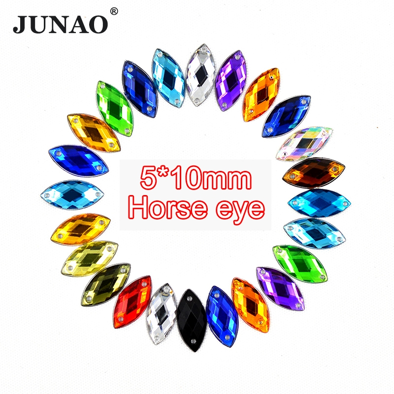 Detail Feedback Questions about JUNAO 5 10mm Sewing Mix Color Crystals  Horse Eye Rhinestones Flatback Acrylic Stones Sew On Fancy Strass Crystals  For ... fe2b4eedf6e0