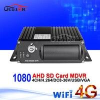 Nuevo En Línea 4G LTE GPS Wifi tarjeta Dual SD 4CH móvil Dvr 1080 AHD vehículo coche