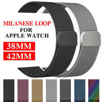 Milanese loop strap for apple watch band 42mm/38/44/40mm Stainless Steel metal Bracelet watchband for iwatch 4/3/2/1 Accessories