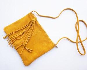 Image 3 - หนังนิ่มหนังกระเป๋าสะพายซองจดหมายหญิงกระเป๋า Crossbody ผู้หญิง Nubuck หนังมัสตาร์ด Clutch Sling Bag