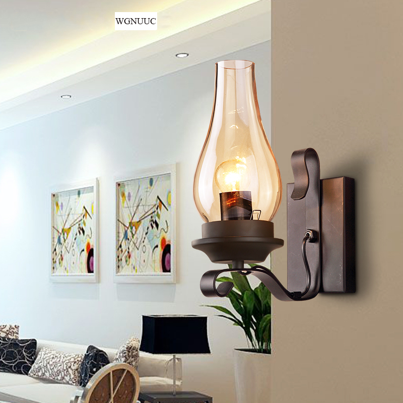 Industrial Style Vintage Wall Lights Sconce Lighting Fixtures Iron Classic Led Wall Lamp Glass Shade 110V-240V for Art  Bar Home classic candlestick hollow iron art lamp for romantic wedding home decoration