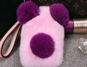 Image 5 - Luxury Panda Rabbit Fur Case For iPhone 11 12 Pro Max X XS MAX XR 7 8 Plus 6 6S Plus Cartoon warm fluffy Hair plush Case Cover