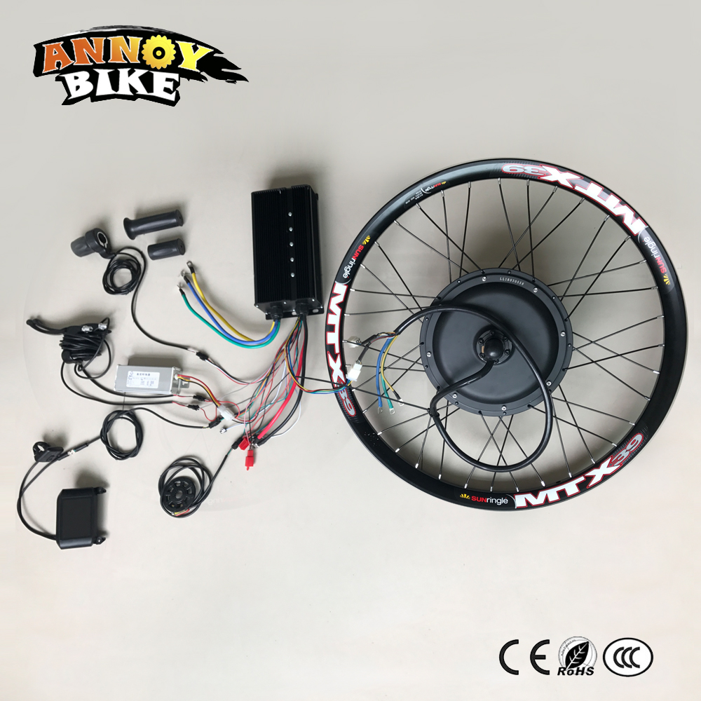 High Speed Electric Motorcycle DIY 19'' 24 26 72v 5kw Wheel Motor Kit 72v 5000w Width 21.5mm Electric Bike Conversion Kit