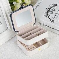 LELADY Portable Travel Small Jewelry Box Multifunction Three Layers Storage Organizer Box With Mirror Leather Box