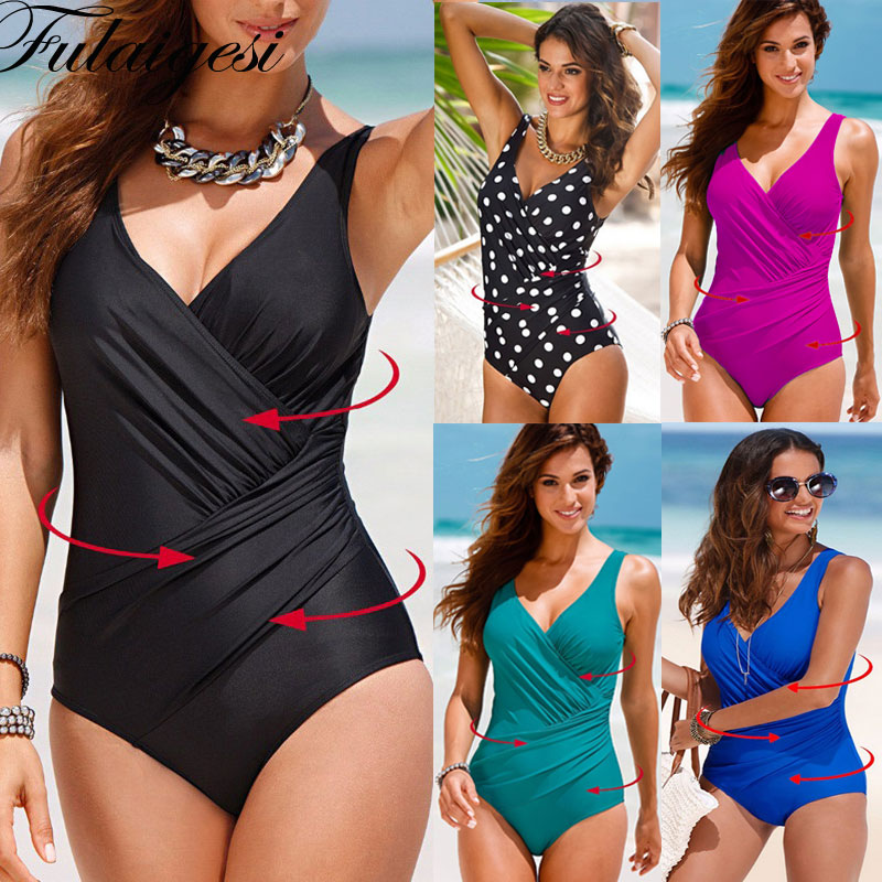 Swimsuit Padded Blue Bikini Black One-Piece Sexy Deep-V-Neck Green Big-Size Women Solid