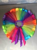 2015 New Girl Skirts Rainbow Stripe Bow Gauze TUTU Skirts Children Clothing 1 9T 305762