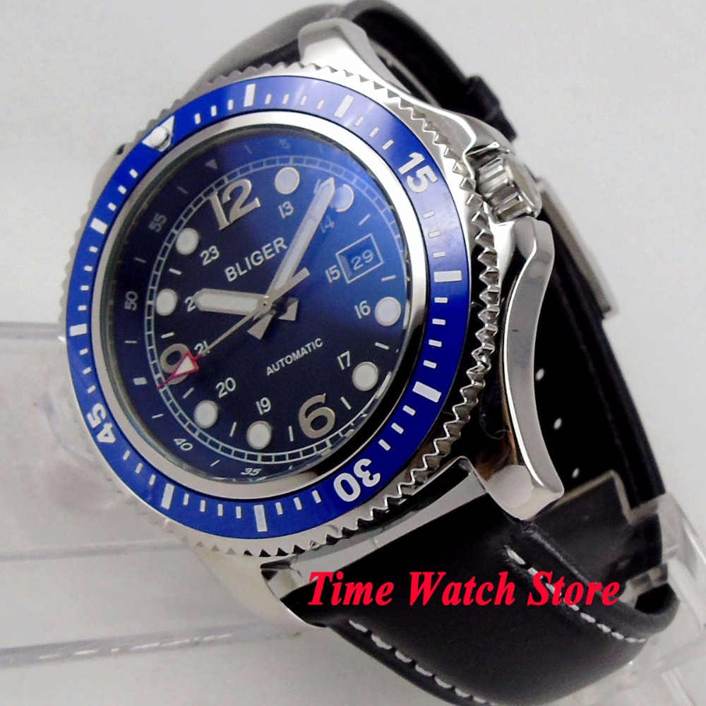 44mm BLIGER Automatic men s watch blue dial luminous ceramic bezel polished SS case Miyota 8215