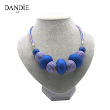 Dandie New Design Handmade Acrylic Bead, Rubber Bead With Blue And Purple Woven Necklace For Women(China)
