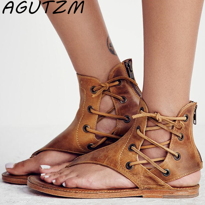 AGUTZM 2018 Summer New Bohemia Flat Thong Women Sandals Woman Flip Flops Vintage Women Shoes Beach Flat Sandals Size 35-43 free shipping 2016 summer diamond woman sandals casual flat thong flip flops fashion beads wild sandals white black st338