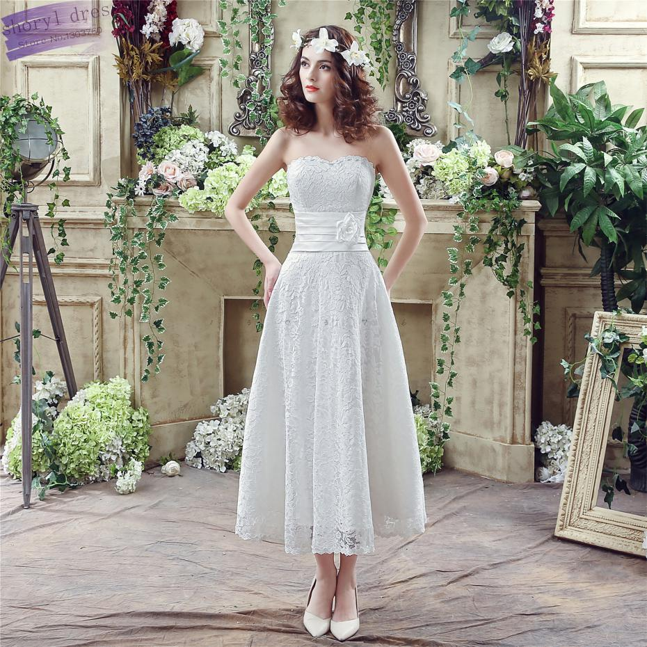 apparel rental wedding dresses promotion borrow wedding dress In Stock Robe De Mariage Sleeveless Lace Strapless Mid calf Lace Flower A line Cheap Wedding Dresses Vestido Novia Boho