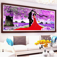 D SH Couple Wedding Full Diamond Embroidery Purple Cherry Scenery 5D Diamond Painting Cross Stitch Diamond Mosaic Home Decor