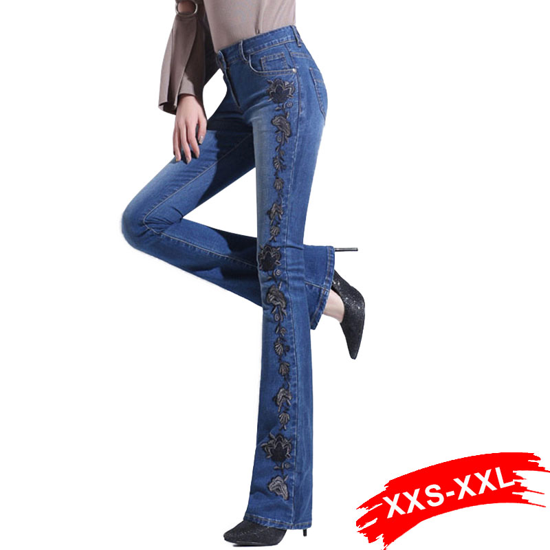 Autumn High Waist Embroidered Flare Jeans Woman High Waist