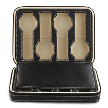 8 Grids Watch Display Storage Box Case Tray Zippered Travel Watch Collector Case Faux Leather Black