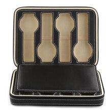 8 grades relógio de exibição caixa de armazenamento caso bandeja com zíper viagem relógio coletor caso couro falso preto