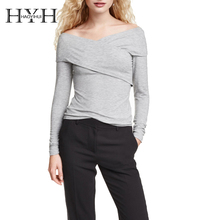 HYH HAOYIHUI Streetwear Women Pullover Knitting Solid Gray Wrap V-Neck Long Sleeve Autumn Slim Bodycon Casual knitted Sweater