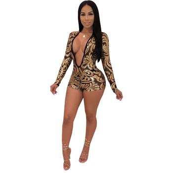 Mesh See Though Sequins Print Romper Women Sexy Deep V Neck Long Sleeve Jumpsuit Night Club Party Playsuit Outfits v neck overlay dot print design playsuit in white