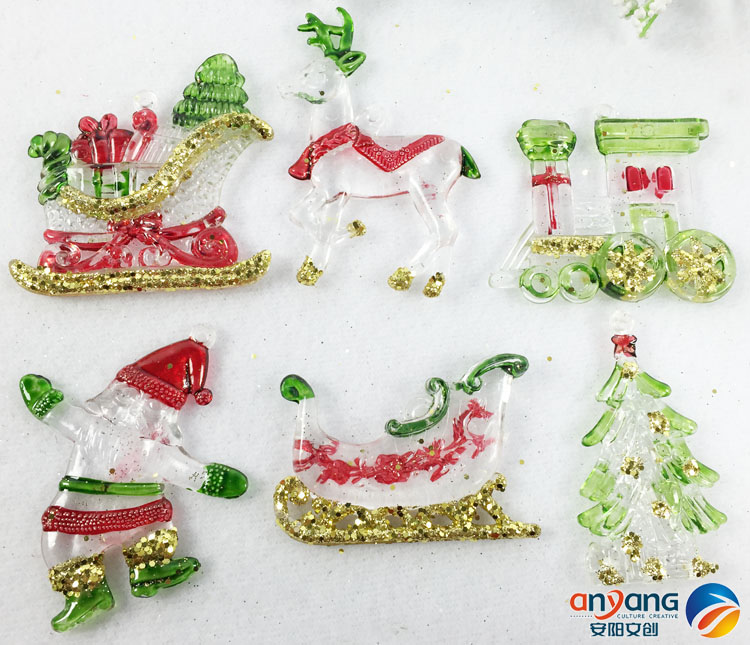 Diamond The Cheapest Price Christmas Ornament Window Festival Decorative Pendant 5-6cm Acrylic Tree Old Man Sleigh Reindeer Train Good Companions For Children As Well As Adults