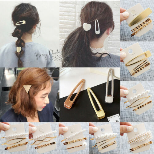 2019 Fashion 3PCS/Lot  Women Sweet Golden Hair Clips Hair Pins Barrette Korean Bang Clip Pearl