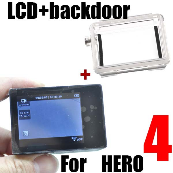 Hot Gopro HERO4 LCD screen + waterproof housing case back door BacPac For Gopro Go pro Hero4 Hero 4 black camera accessories gopro жк экран alcdb 401 lcd touch bacpac