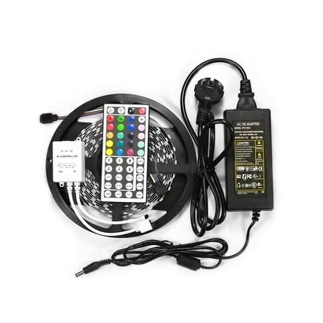 5M RGB LED Strip 5050 non waterproof colourful led light  Led RGB tape ribbon 60led/m +44 key Remote controller + Power Adapter