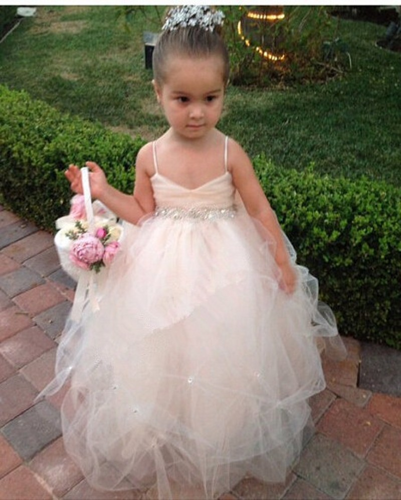 New arrival toddler ball gowns flower girl dress 2016 lovely tulle new arrival toddler ball gowns flower girl dress 2016 lovely tulle floor length crystal bow spaghetti straps cheap girl dresses in flower girl dresses from izmirmasajfo