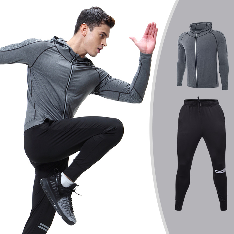 Men Fitness Hoodies Shirt & Legging Tracksuit Compression Tights Bodybuilding Sportswear Clothes Quick Dry