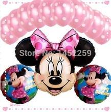 13 шт. pcs/lots фольга шары комплект минни дети в игрушки украшение dot латекс шары день рождения