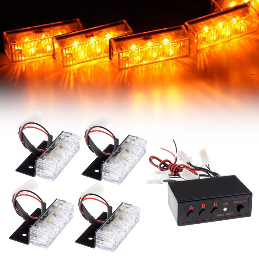 4x3 LED Car Grille Light Truck Strobe Flash Warning Emergency Front Bumper Grille Driving Light Bar Police Firefighter