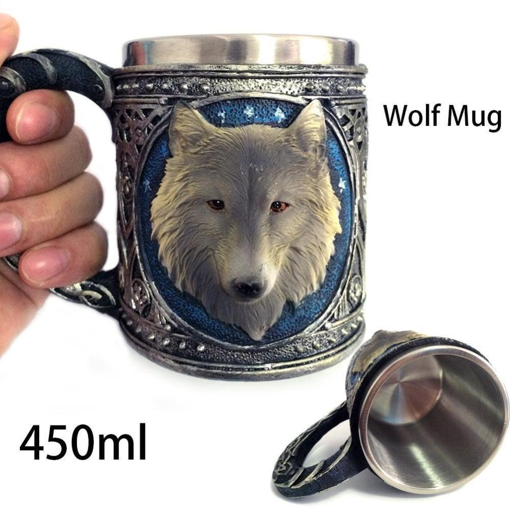 450ML Double Wall Resin Stainless Steel 3D Wolf Head Mugs Coffee Tea Beer Cup Mug Animal