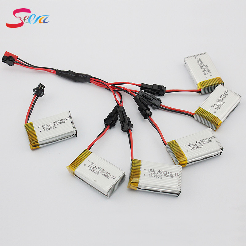 5pcs 7.4V 500mAh Lipo Battery and charger SM plug For JJRC H8C DFD F183 Rc Quadcopter Drone Helicopter Bateria Lipo 5pcs jjrc h11d h11c hq898 quadcopter drone rc lipo battery 3 7v 1100mah and charger plug cable