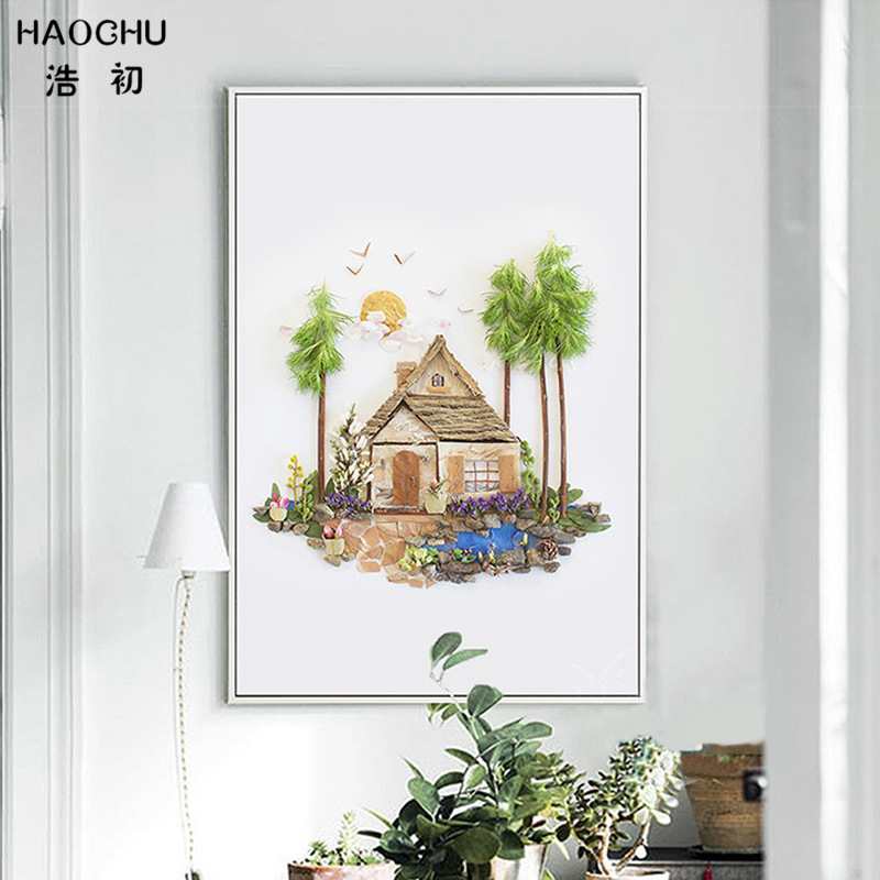 HAOCHU Modern Canvas Painting Tropical Island Paradise Art Print Poster Tree Landscape Home Decor Wall Picture No Frame
