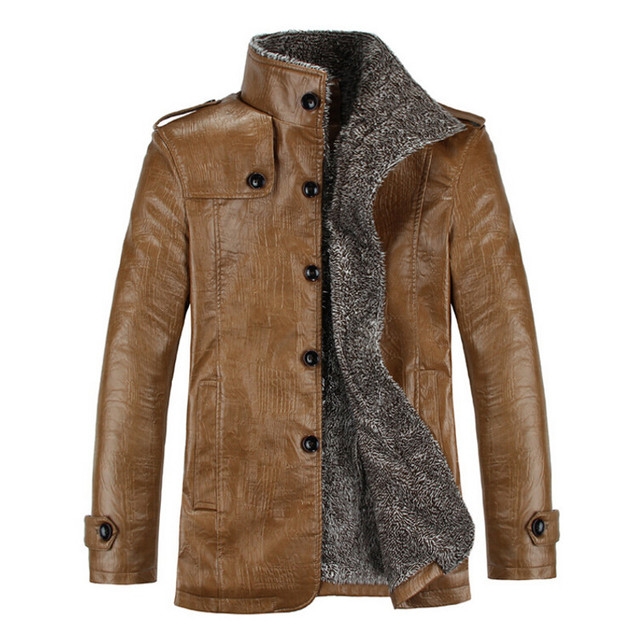 3 Color Hot New 2017 Winter Mens Fashion PU Leather Slim Fit Jacket Casual Thick Plush Lining Warm Coats L-3XL