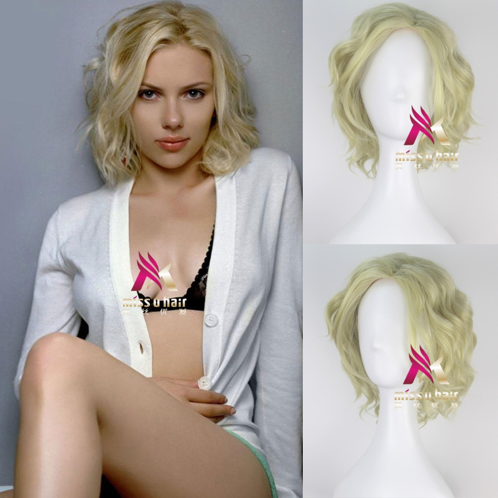 movie Lucy Scarlett Johansson Cosplay Costumes Wig Brown Curly Wave Hair Halloween Party Cosplay Props