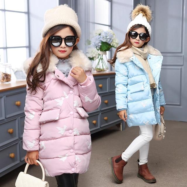 Мода 2017 г. Зимнее пальто для девочек Детская Пух куртка одежда для девочек теплая верхняя одежда пальто Мех Длинные куртки парка Пальто для девочки