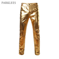 Motorcycle PU Leather Pants Mens Brand Skinny Shiny Gold Silver Black Pants Trousers Nightclub Stage Pants for Singers Dancers Casual Pants